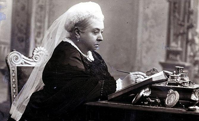 Victoria at desk